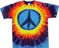 Rainbow Peace Sign Tie Dye T Shirt - Youth