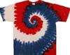 Red white blue spiral tie dye shirt