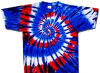 Red wild blue tie dye t shirt