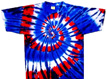 Red blue white tie dye shirts