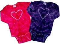 Heart on Pink/Purple Crinkle Infant Tie Dye Creepers