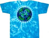 planet earth on sky blue tie dye t shirt