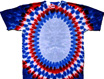 Red white blue oval tie dyed patterns t-shirt