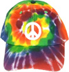 rainbow spiral tie hat with peace sign