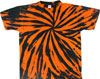orange black spiral tie dye shirt