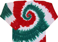Red Green White Spiral Christmas tie dye t shirt