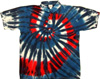 Red wild and blue tie dye sport shirt