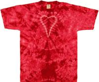 Pink crinkle heart tie dye t shirt