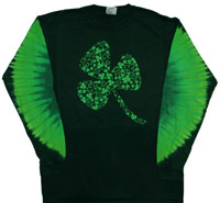 Shamrock Tie Dye Shirt with Gem Long Sleeves