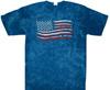 Blue crinkle American flag tie dye shirt