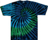 blue green stained glass swirl tie dye shirt