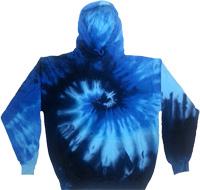 Blues spiral tie dye hoodie